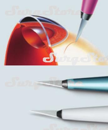 Picture of 200200715 Офтальмологические стандартные скальпели с пластиковыми ручками стерильные. Угол острия 15°, P-715