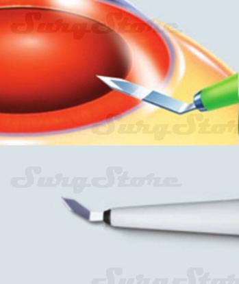 Picture of 200200610 Кератом с пластиковой ручкой стерильный. Bevel-up, ширина лезвия 1.0 мм, угол режущей кромки 40°, P-7610