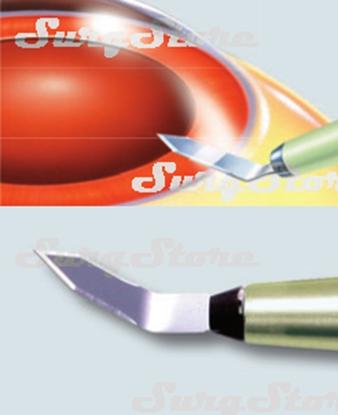 Picture of 200200624 Кератом с пластиковой ручкой стерильный. Bevel-up, ширина лезвия 2.4 мм, угол режущей кромки 50°, P-7624 BUPS