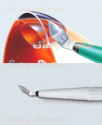 Picture of 200200628 Роговичный скальпель с пластиковой ручкой стерильный.  Толщина лезвия 0.15 мм. Bi-bevel, ширина лезвия 2.8 мм, угол режущей кромки 60°, P-9628