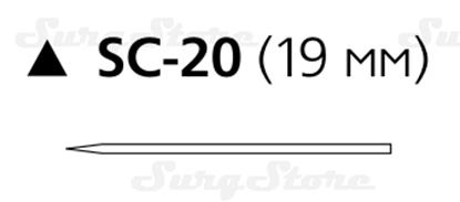 Изображение 182T Шелк хирургический М1 (5/0) 45 см игла режущая SC-20 19 мм