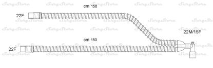 Picture of CVN150/1 контуры INT AIR, гладкоствольные, поливинилхлорид (ПВХ), неонатальные, диаметр 10 мм, угловой Y-образный 22M/15F коннектор пациента, 22F-22F коннектор ИВЛ, длина 150+150 см