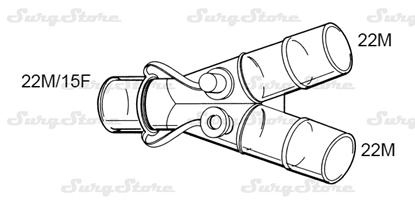 Picture of 601/5088 коннекторы DAR MEDTRONIC-COVIDIEN, взрослые,  22M/15F коннектор пациента, 22M-22M коннектор ИВЛ, нестерильно