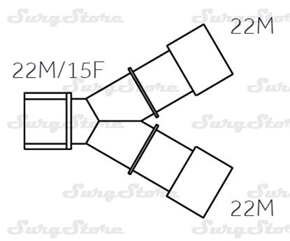 Picture of 600/5086 коннекторы DAR MEDTRONIC-COVIDIEN, взрослые,  22M/15F коннектор пациента, 22M-22M коннектор ИВЛ, нестерильно