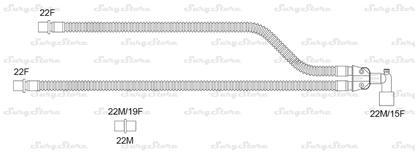 Изображение 301NP14324 контуры DAR MEDTRONIC-COVIDIEN, гофрированные, полиэтилен (ПЭ), взрослые, диаметр 22 мм, угловой Y-образный 22M/15F коннектор пациента, 22F-22F коннектор ИВЛ, длина 150+150 см, нестерильно