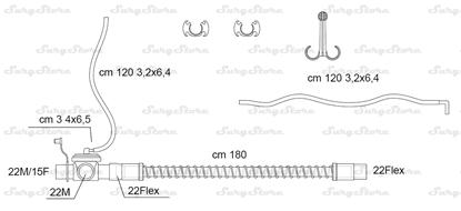 Immagine di 285/25035 контуры DAR MEDTRONIC-COVIDIEN, поливинилхлорид (ПВХ), взрослые, диаметр 22 мм, прямой 22M/15F коннектор пациента, 22Flex коннектор ИВЛ, длина 180 см, с клапаном выдоха, стерильно