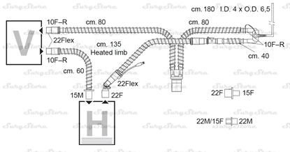 Picture of 307/8447 контуры DAR MEDTRONIC-COVIDIEN, гладкоствольные, поливинилхлорид (ПВХ), неонатальные, диаметр 10 мм, Y-образный 15F коннектор пациента, 22F-22Flex коннектор ИВЛ, длина 175+160 см, стерильно