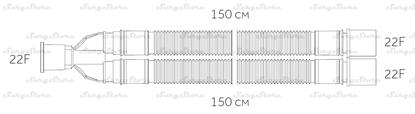 Изображение 300NP14344 контуры DAR MEDTRONIC-COVIDIEN, гофрированные, полиэтилен (ПЭ), взрослые, диаметр 22 мм, Y-образный 22M коннектор пациента, 22F-22F коннектор ИВЛ, длина 150+150 см, нестерильно