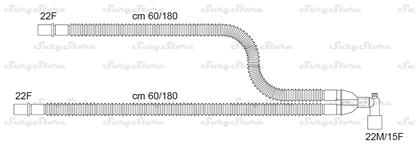 Изображение 300/13315 контуры DAR MEDTRONIC-COVIDIEN, растяжимые, полипропилен (ПП), взрослые, диаметр 22 мм, угловой Y-образный 22M/15F коннектор пациента, 22F-22F коннектор ИВЛ, длина 60/180+60/180 см, нестерильно