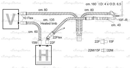 Picture of 307/8442 контуры DAR MEDTRONIC-COVIDIEN, гладкоствольные, поливинилхлорид (ПВХ), неонатальные, диаметр 10 мм, Y-образный 15F коннектор пациента, 22F-10Flex коннектор ИВЛ, длина 175+160 см, стерильно