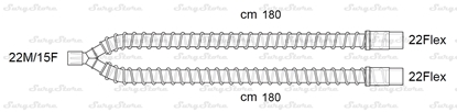 Picture of 305/6714 контуры DAR MEDTRONIC-COVIDIEN, гладкоствольные, поливинилхлорид (ПВХ), педиатрические, диаметр 15 мм, Y-образный 22M/15F коннектор пациента, 22Flex-22Flex коннектор ИВЛ, длина 180+180 см, стерильно