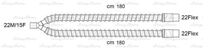 Picture of 305/8804 контуры DAR MEDTRONIC-COVIDIEN, гладкоствольные, поливинилхлорид (ПВХ), педиатрические, диаметр 15 мм, Y-образный 22M/15F коннектор пациента, 22Flex-22Flex коннектор ИВЛ, длина 180+180 см, стерильно