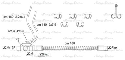 Изображение 285P25606 контуры DAR MEDTRONIC-COVIDIEN, поливинилхлорид (ПВХ), взрослые, диаметр 22 мм, прямой 22M/15F коннектор пациента, 22Flex коннектор ИВЛ, длина 180 см, с клапаном выдоха, нестерильно