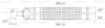 Изображение 300NP14348 контуры DAR MEDTRONIC-COVIDIEN, гофрированные, полиэтилен (ПЭ), взрослые, диаметр 22 мм, угловой 22М коннектор пациента, 22F-22F коннектор ИВЛ, длина 190+190 см, нестерильно
