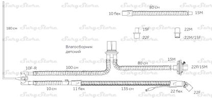 Picture of 307/8488 контуры DAR MEDTRONIC-COVIDIEN, неонатальные, диаметр 10 мм, длина 135+180 см, 1 влагосборник, стерильно